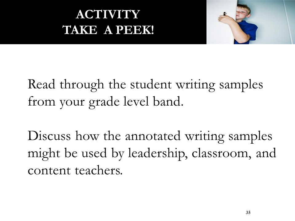 Read through the student writing samples from your grade level band. Discuss how the annotated writing samples might be used by leadership, classroom,