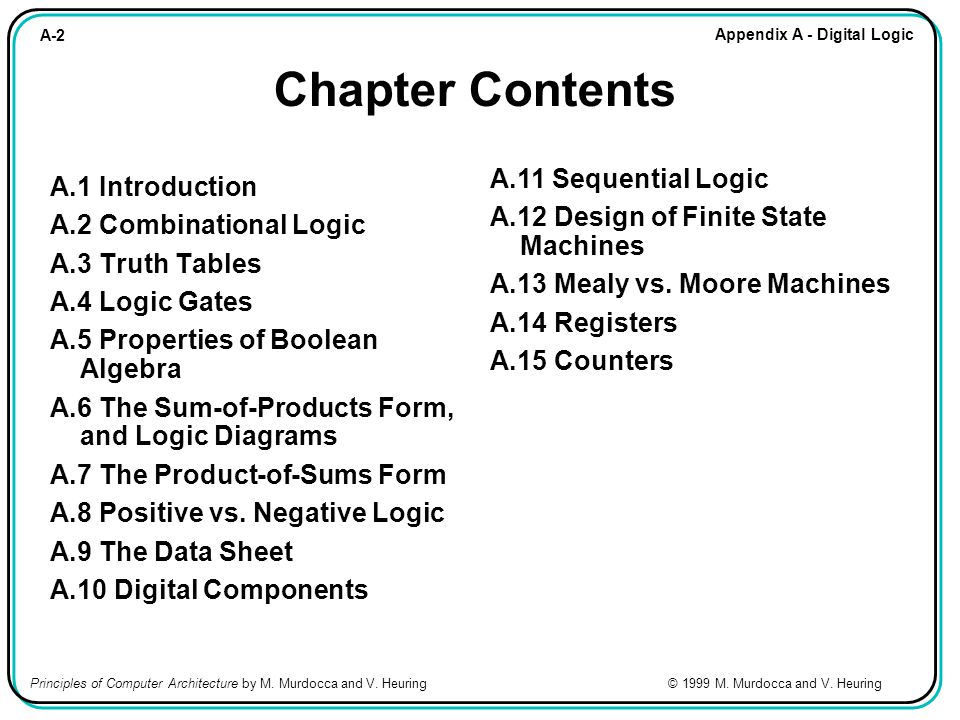 A-2 Appendix A - Digital Logic Principles of Computer Architecture by M. Murdocca and V. Heuring © 1999 M. Murdocca and V. Heuring Chapter Contents A.