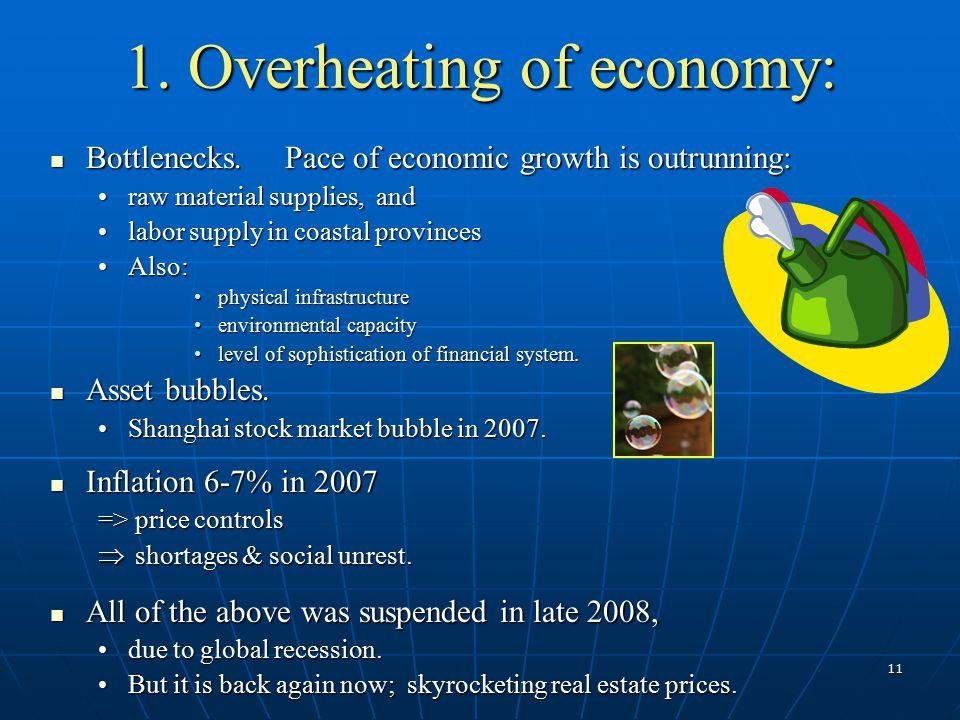 11 1. Overheating of economy: Bottlenecks. Pace of economic growth is outrunning: Bottlenecks. Pace of economic growth is outrunning: raw material sup