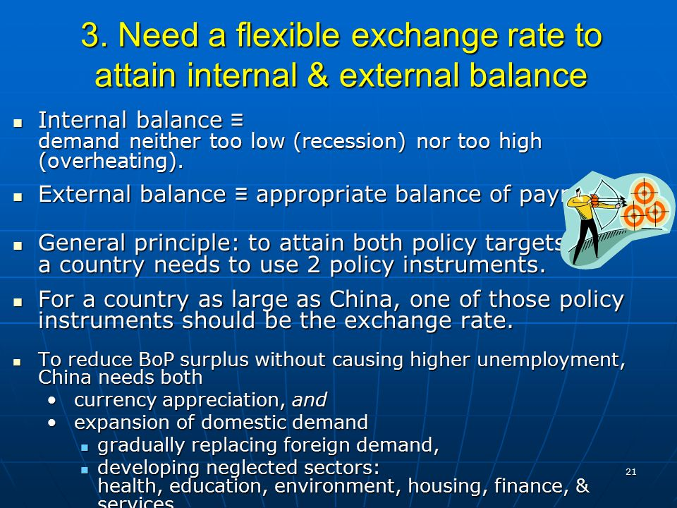 21 3. Need a flexible exchange rate to attain internal & external balance Internal balance ≡ demand neither too low (recession) nor too high (overheat
