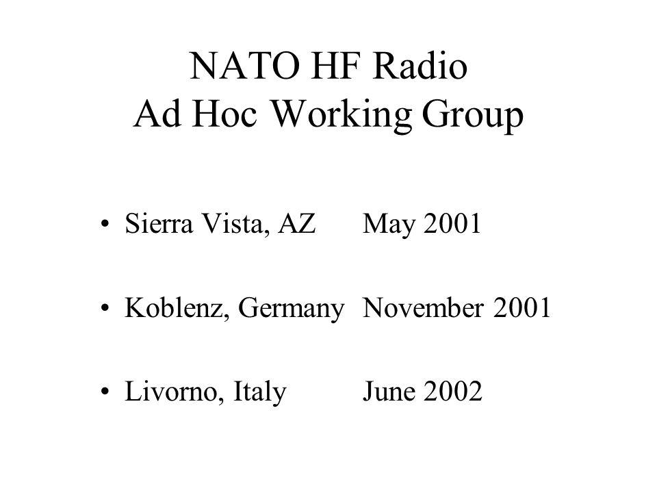 NATO HF Radio Ad Hoc Working Group Sierra Vista, AZMay 2001 Koblenz, GermanyNovember 2001 Livorno, ItalyJune 2002