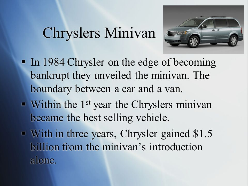 Chryslers Minivan  In 1984 Chrysler on the edge of becoming bankrupt they unveiled the minivan.