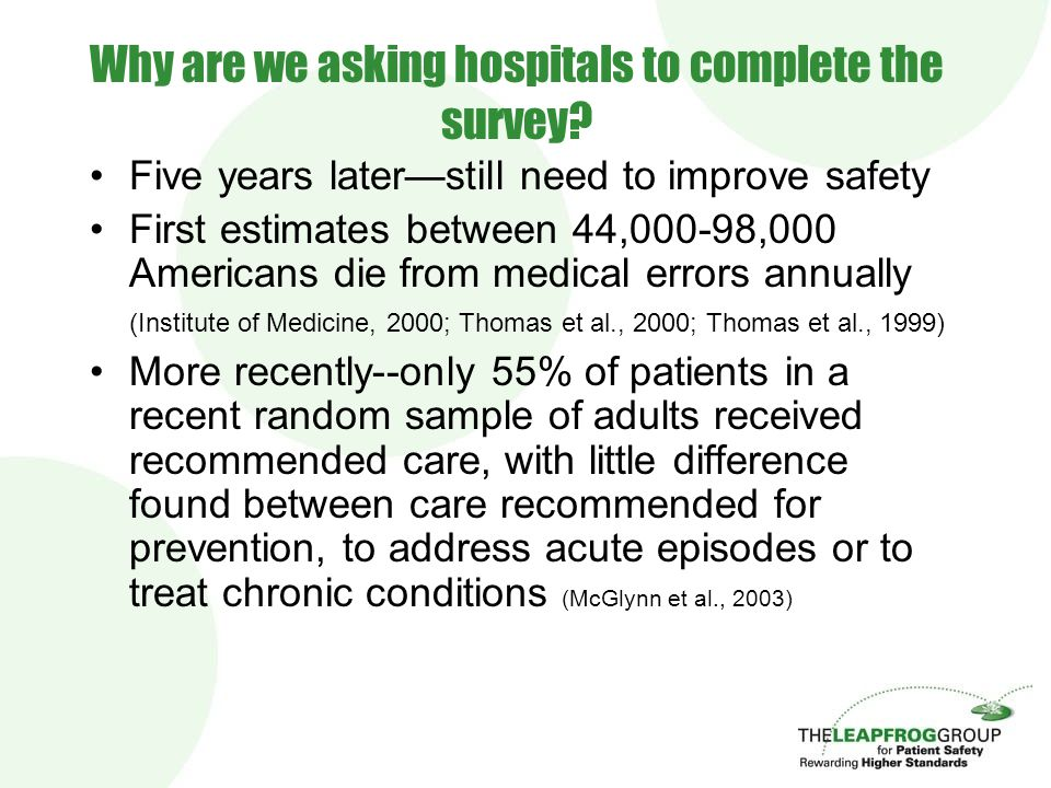 Why are we asking hospitals to complete the survey? Five years later—still need to improve safety First estimates between 44,000-98,000 Americans die