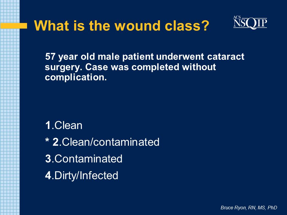 Bruce Ryon, RN, MS, PhD What is the wound class? 57 year old male patient underwent cataract surgery. Case was completed without complication. 1.Clean
