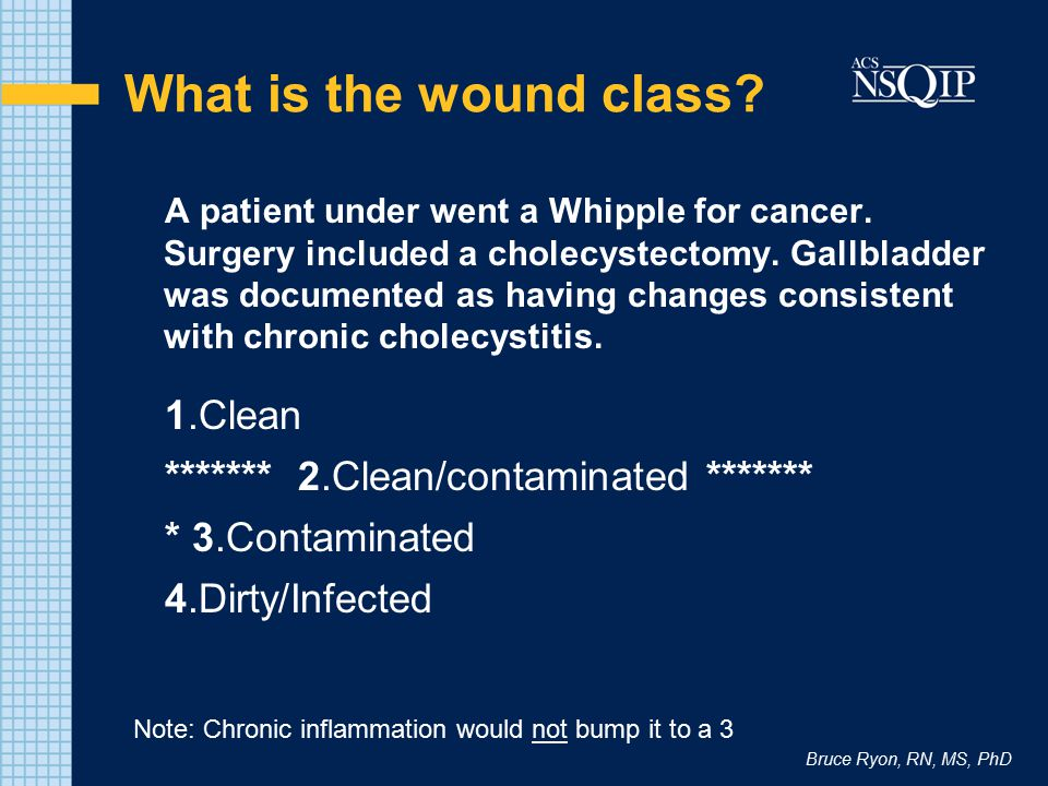 Bruce Ryon, RN, MS, PhD What is the wound class? A patient under went a Whipple for cancer. Surgery included a cholecystectomy. Gallbladder was docume