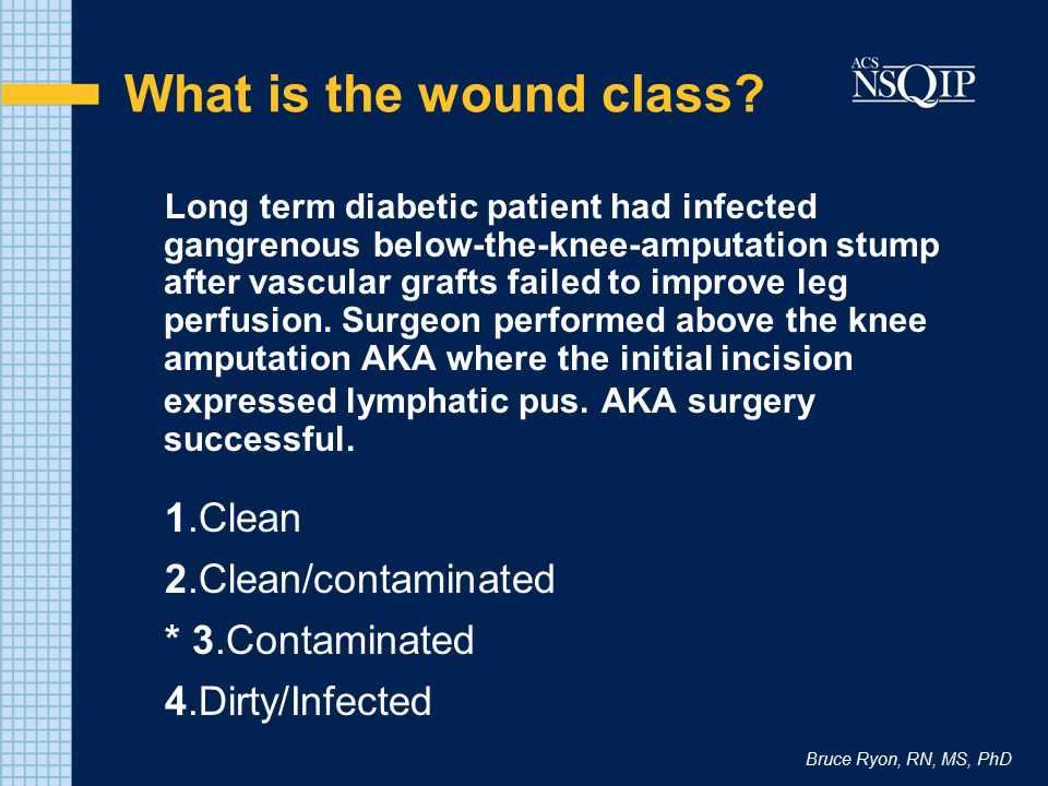 Bruce Ryon, RN, MS, PhD What is the wound class? Long term diabetic patient had infected gangrenous below-the-knee-amputation stump after vascular gra