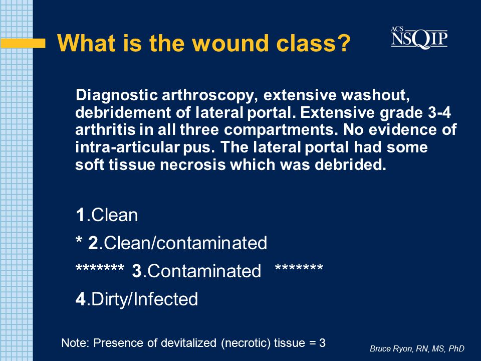 Bruce Ryon, RN, MS, PhD What is the wound class? Diagnostic arthroscopy, extensive washout, debridement of lateral portal. Extensive grade 3-4 arthrit
