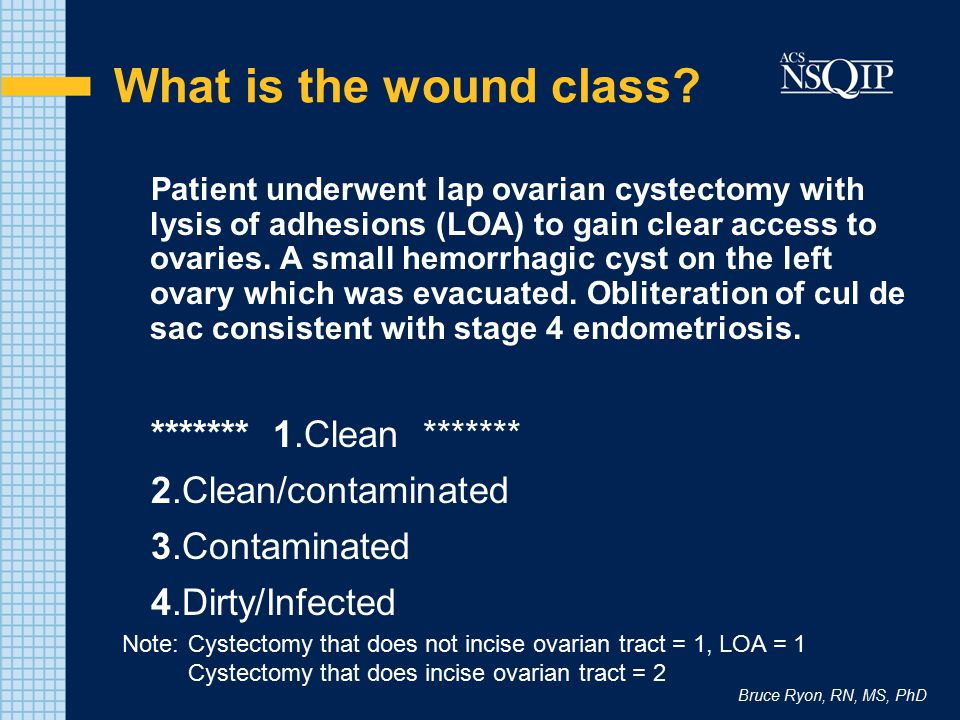 Bruce Ryon, RN, MS, PhD What is the wound class? Patient underwent lap ovarian cystectomy with lysis of adhesions (LOA) to gain clear access to ovarie