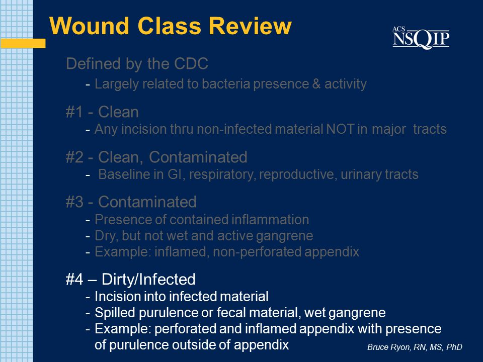 Bruce Ryon, RN, MS, PhD Wound Class Review Defined by the CDC -Largely related to bacteria presence & activity #1 - Clean -Any incision thru non-infected material NOT in major tracts #2 - Clean, Contaminated - Baseline in GI, respiratory, reproductive, urinary tracts #3 - Contaminated -Presence of contained inflammation -Dry, but not wet and active gangrene -Example: inflamed, non-perforated appendix #4 – Dirty/Infected -Incision into infected material -Spilled purulence or fecal material, wet gangrene -Example: perforated and inflamed appendix with presence of purulence outside of appendix