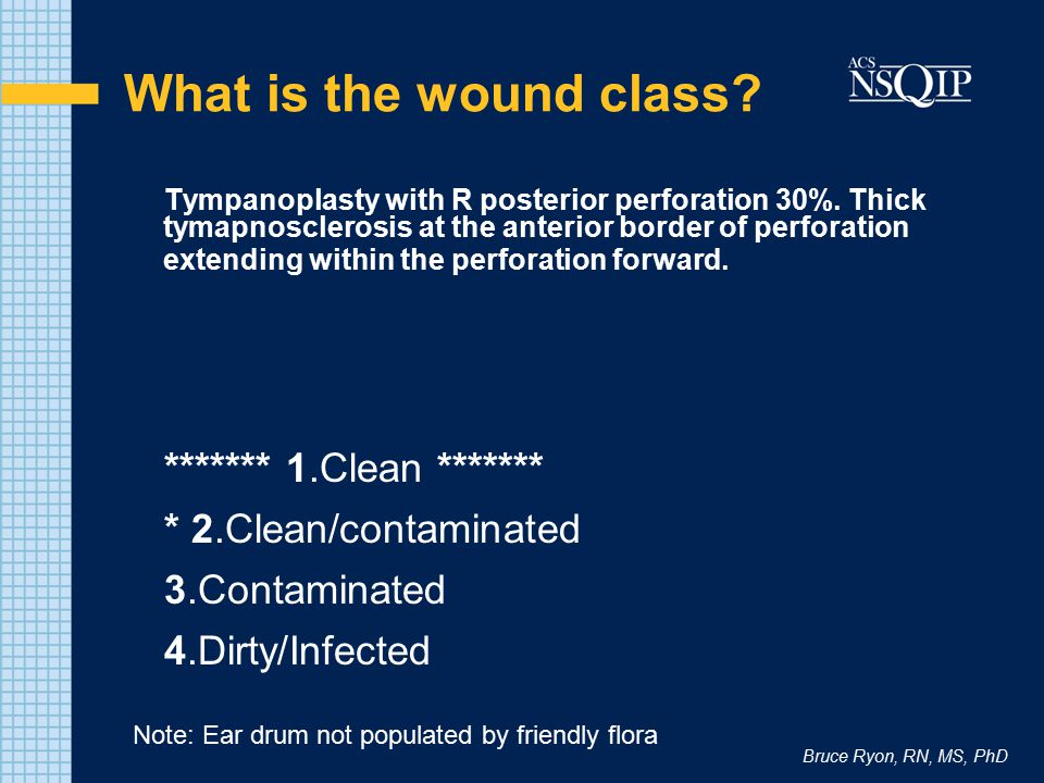 Bruce Ryon, RN, MS, PhD What is the wound class? Tympanoplasty with R posterior perforation 30%. Thick tymapnosclerosis at the anterior border of perf