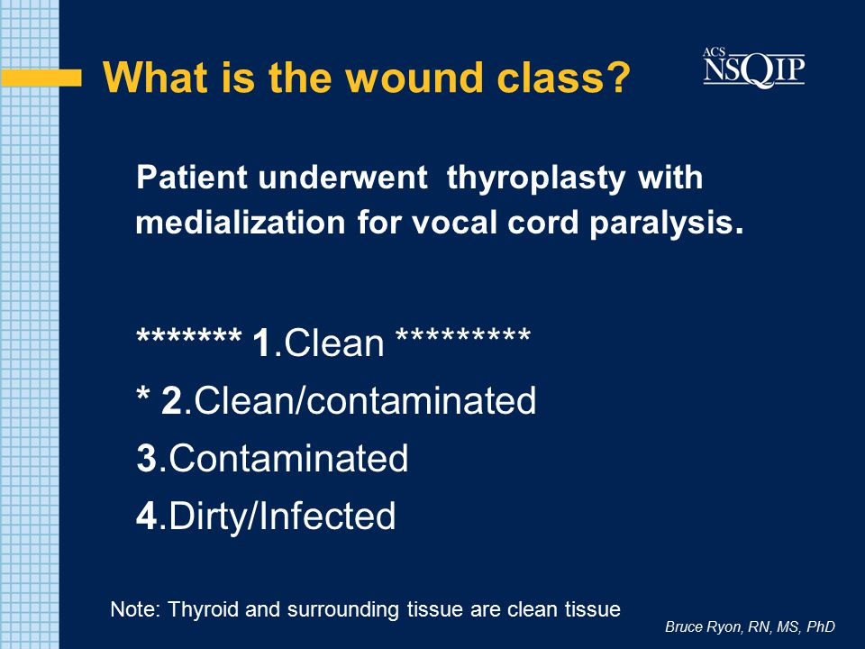 Bruce Ryon, RN, MS, PhD What is the wound class? Patient underwent thyroplasty with medialization for vocal cord paralysis. ******* 1.Clean *********