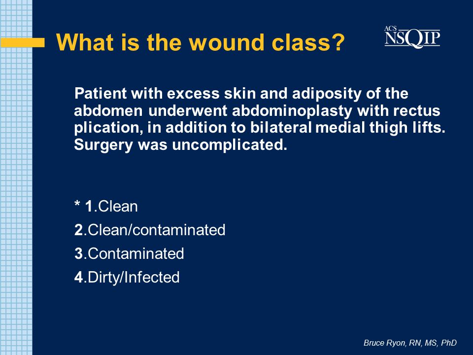 Bruce Ryon, RN, MS, PhD What is the wound class? Patient with excess skin and adiposity of the abdomen underwent abdominoplasty with rectus plication,
