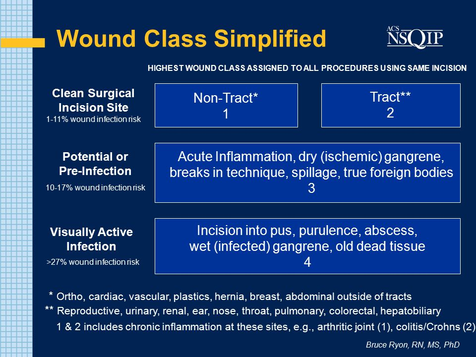 Bruce Ryon, RN, MS, PhD Wound Class Quiz 1 st Slide – Kaiser San Francisco cases –Scenario explained with choices –Circulator recording marked by *asterisk –Think about the baseline of the procedure –Then think about anything that would change that baseline 2 nd Slide –Shows the answer in multiple asterisks –Note on key or important criteria