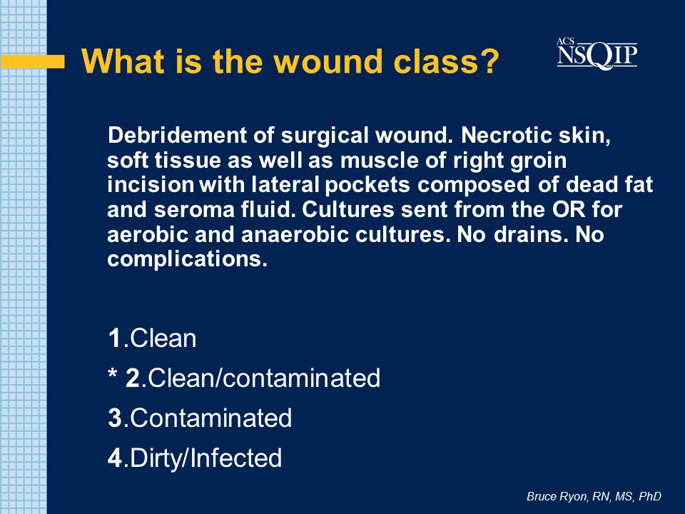 Bruce Ryon, RN, MS, PhD What is the wound class? Debridement of surgical wound. Necrotic skin, soft tissue as well as muscle of right groin incision w