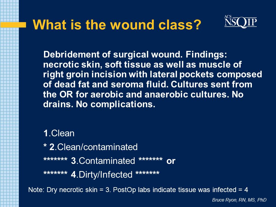 Bruce Ryon, RN, MS, PhD What is the wound class? Debridement of surgical wound. Findings: necrotic skin, soft tissue as well as muscle of right groin