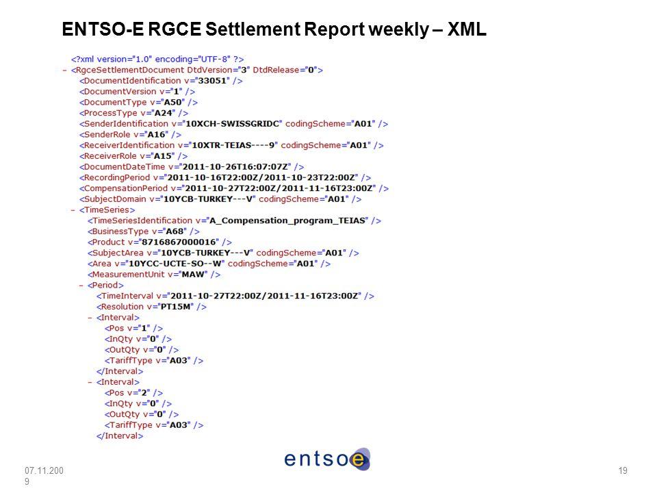 07.11.200 9 19 ENTSO-E RGCE Settlement Report weekly – XML