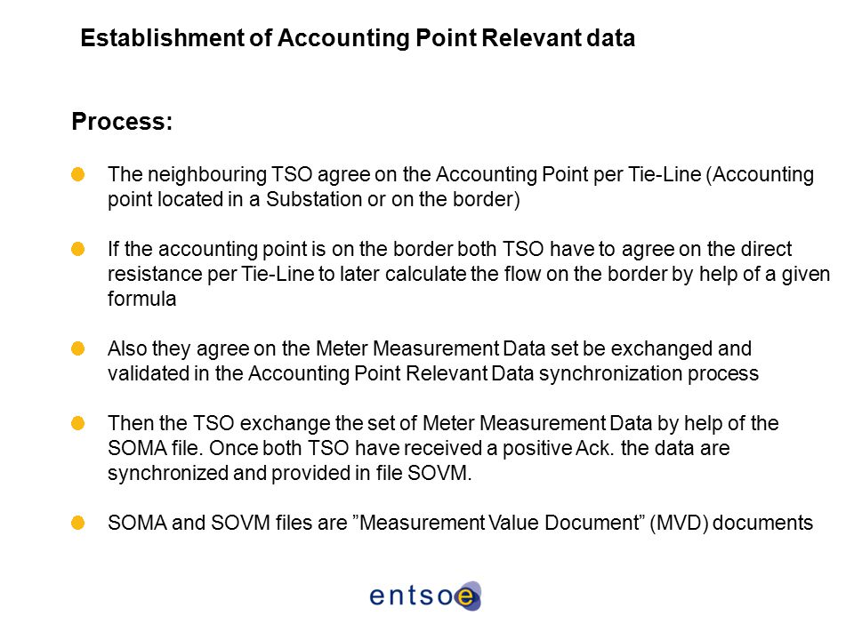 Establishment of Accounting Point Relevant data Process: The neighbouring TSO agree on the Accounting Point per Tie-Line (Accounting point located in