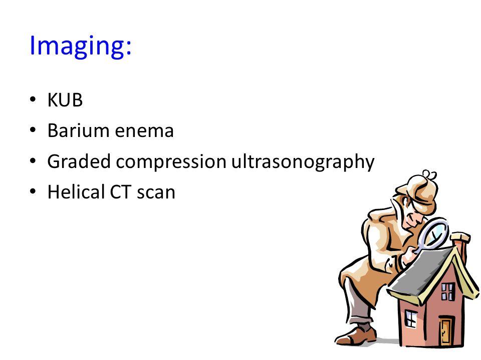 Imaging: KUB Barium enema Graded compression ultrasonography Helical CT scan