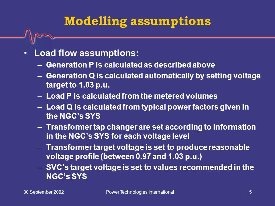 Power Technologies International30 September 20025 Modelling assumptions Load flow assumptions: –Generation P is calculated as described above –Genera