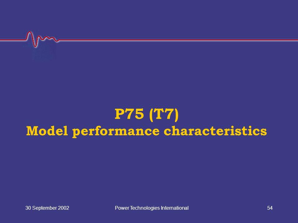 Power Technologies International30 September 200254 P75 (T7) Model performance characteristics