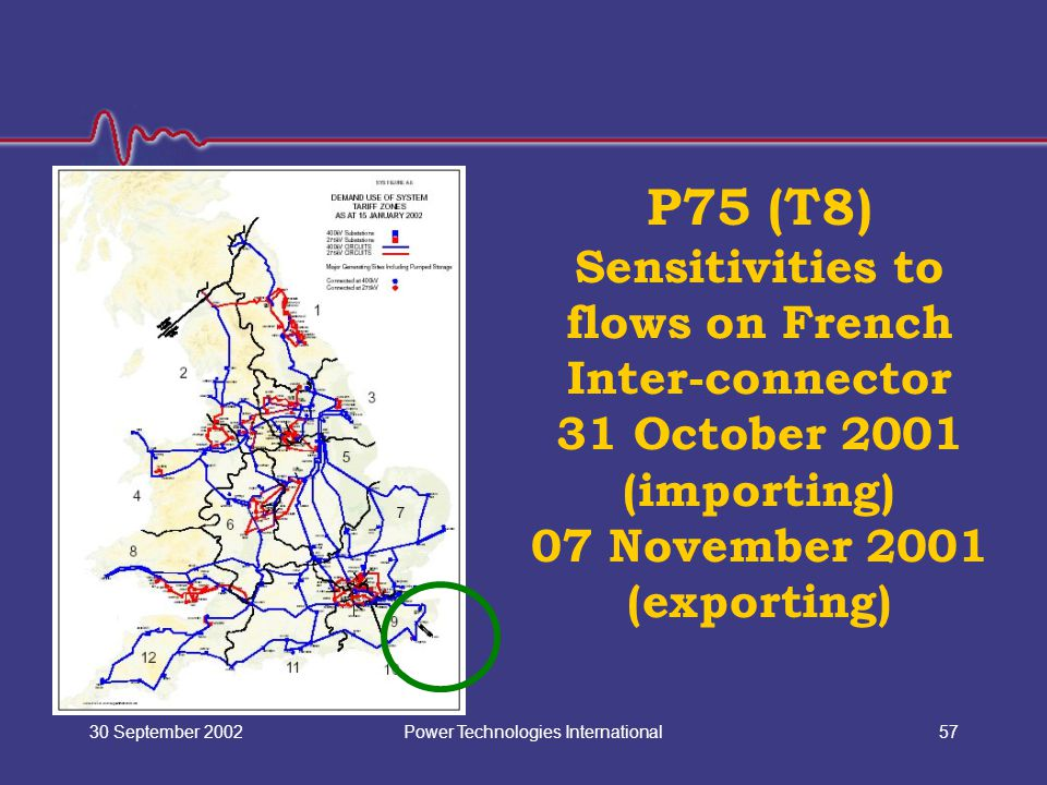 Power Technologies International30 September 200257 P75 (T8) Sensitivities to flows on French Inter-connector 31 October 2001 (importing) 07 November 2001 (exporting)
