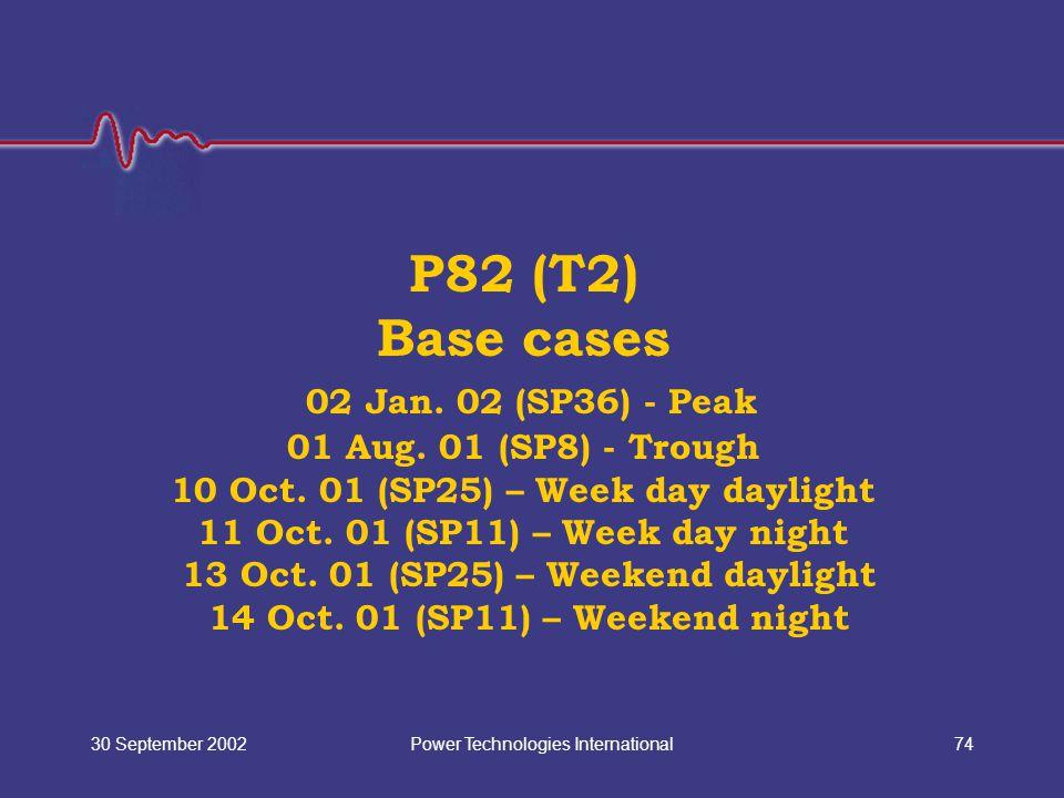 Power Technologies International30 September 200274 P82 (T2) Base cases 02 Jan. 02 (SP36) - Peak 01 Aug. 01 (SP8) - Trough 10 Oct. 01 (SP25) – Week da