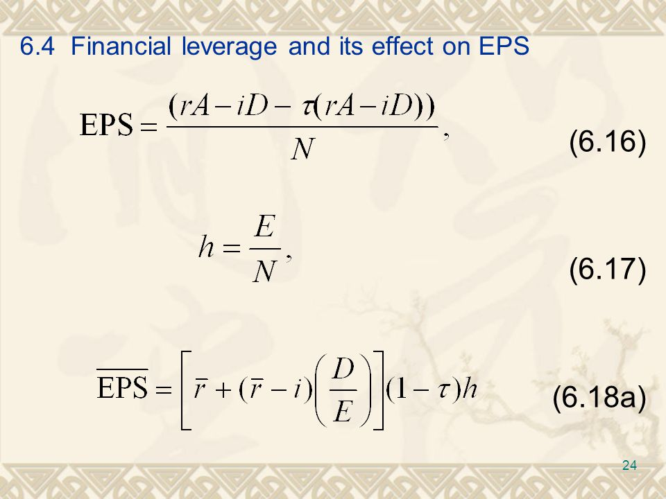 6.4 Financial leverage and its effect on EPS (6.16) (6.17) (6.18a) 24