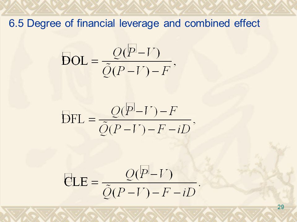 6.5 Degree of financial leverage and combined effect 29