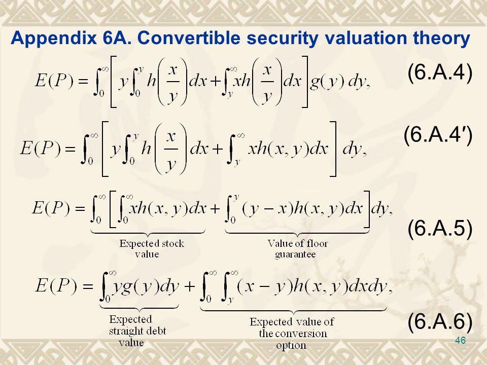 Appendix 6A. Convertible security valuation theory (6.A.4) (6.A.4′) (6.A.5) (6.A.6) 46