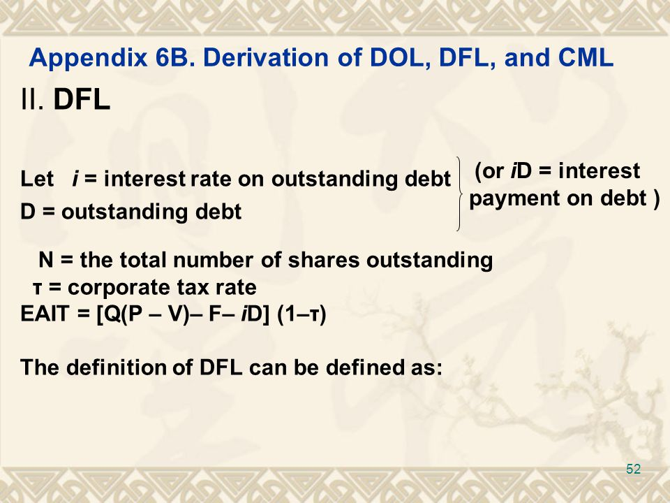 Appendix 6B. Derivation of DOL, DFL, and CML II.