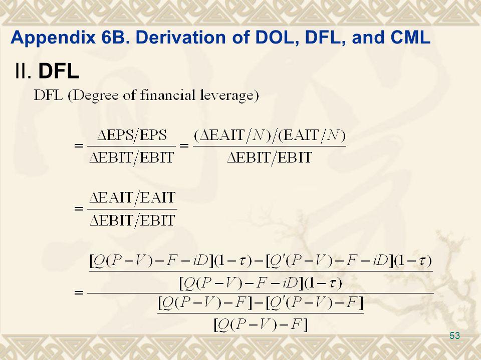 Appendix 6B. Derivation of DOL, DFL, and CML II. DFL 53