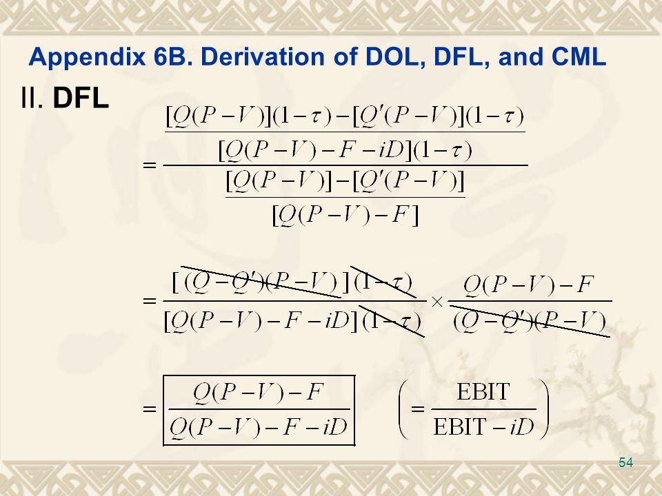 Appendix 6B. Derivation of DOL, DFL, and CML II. DFL 54