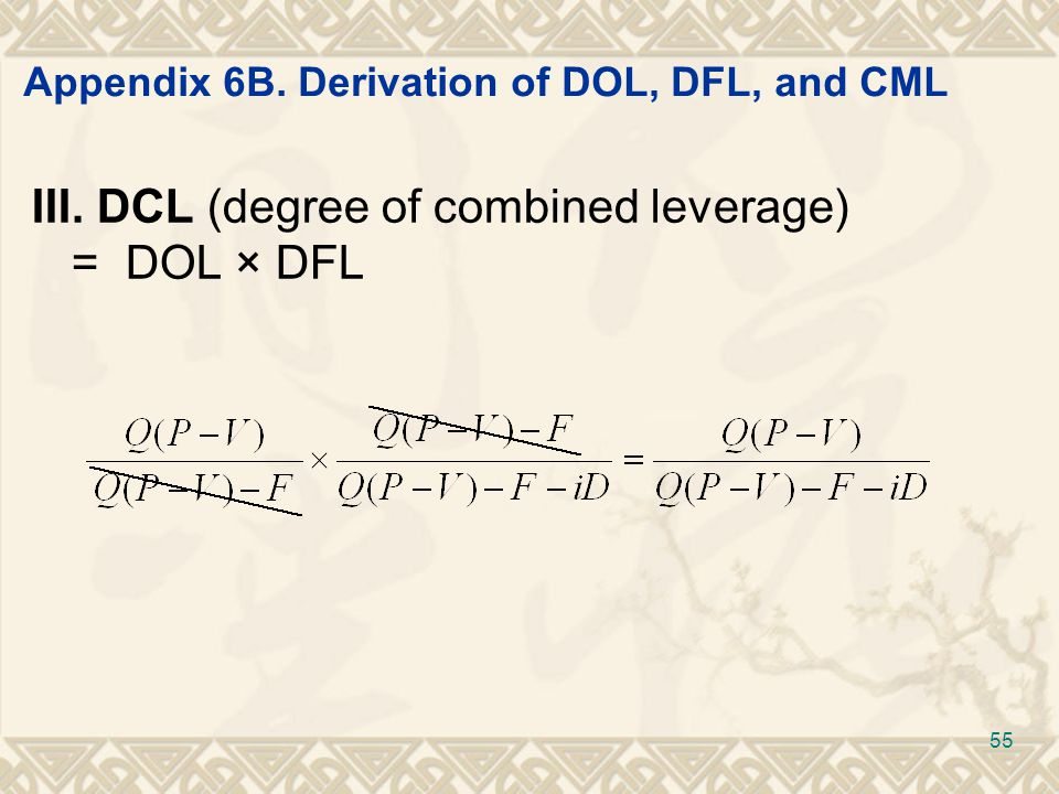 Appendix 6B. Derivation of DOL, DFL, and CML III. DCL (degree of combined leverage) = DOL × DFL 55