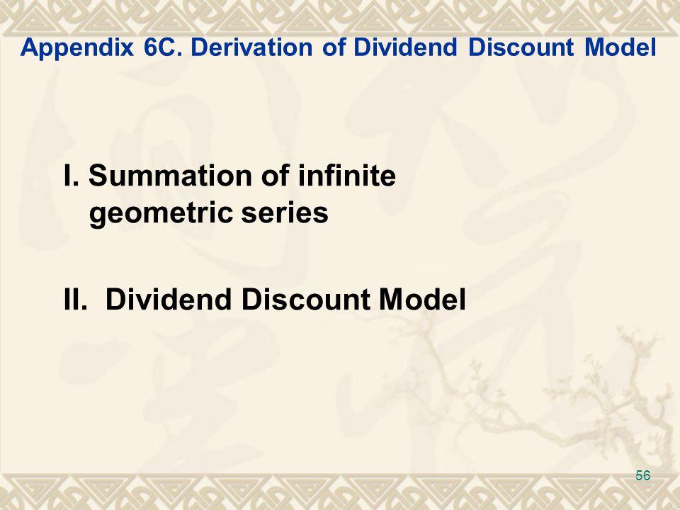 Appendix 6C. Derivation of Dividend Discount Model I.