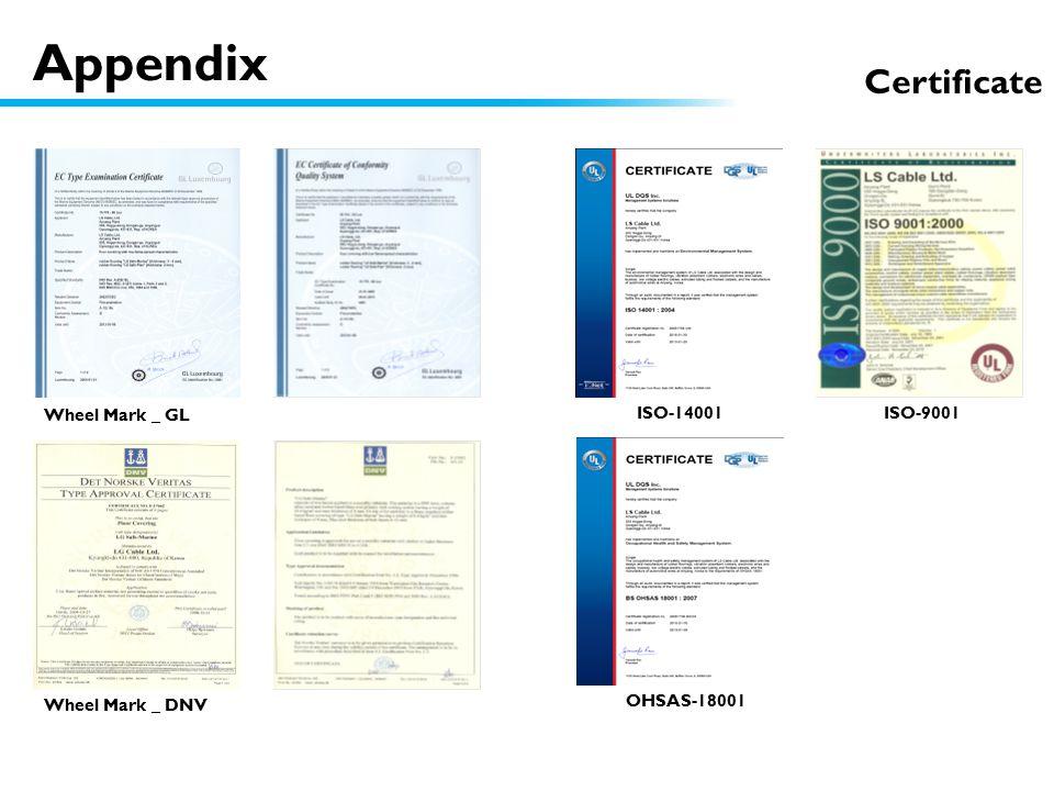 Certificate ISO-14001 ISO-9001 Wheel Mark _ DNV Wheel Mark _ GL OHSAS-18001 Appendix