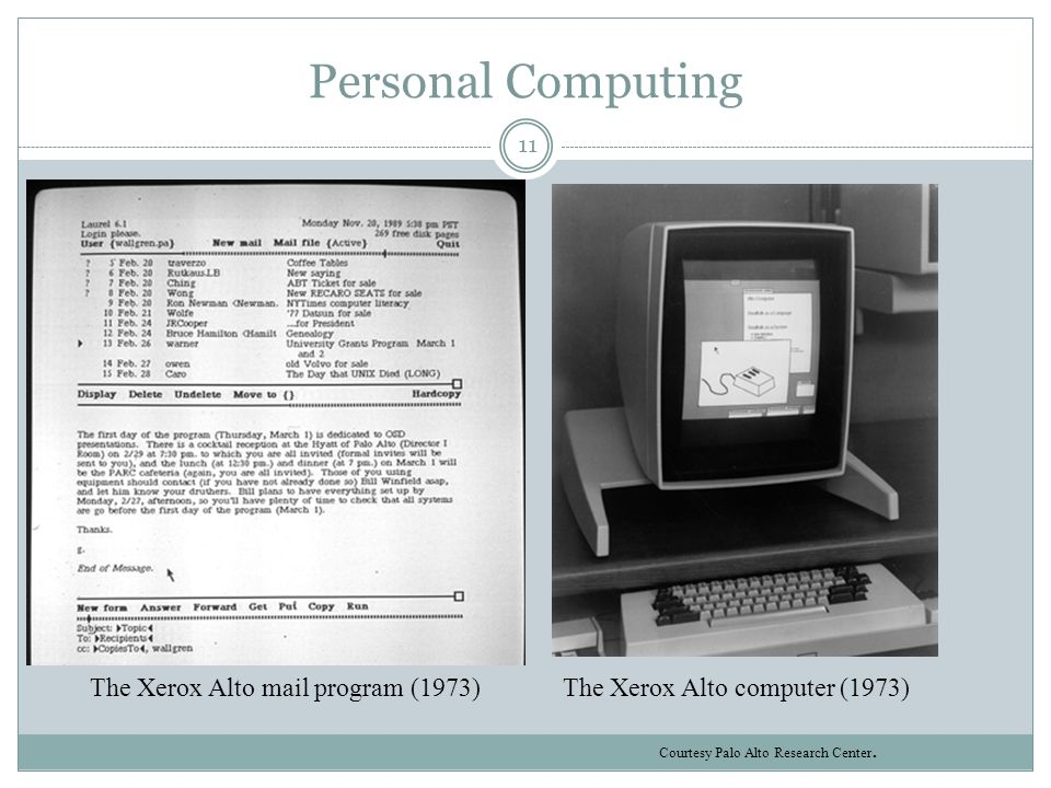 Personal Computing The Xerox Alto computer (1973)The Xerox Alto mail program (1973) Courtesy Palo Alto Research Center. 11