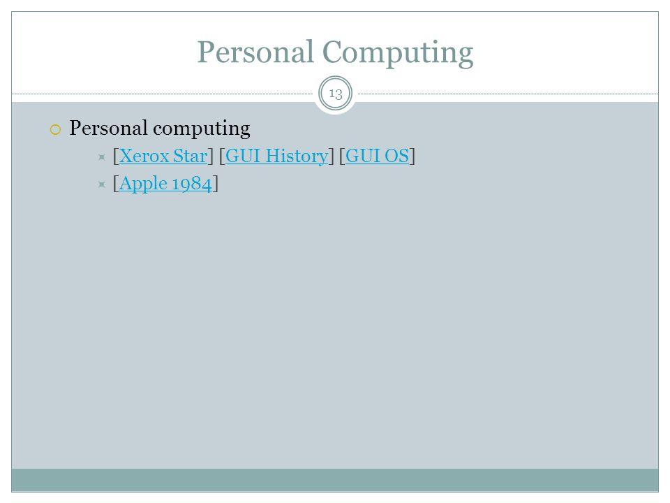 Personal Computing  Personal computing  [Xerox Star] [GUI History] [GUI OS]Xerox StarGUI HistoryGUI OS  [Apple 1984]Apple 1984 13