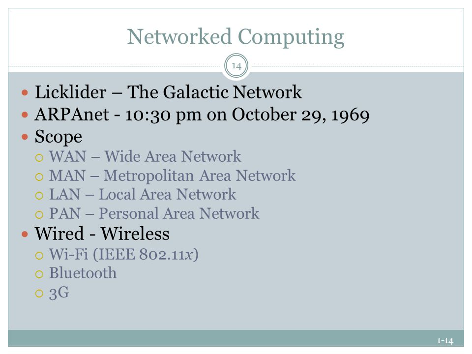 1-14 Networked Computing Licklider – The Galactic Network ARPAnet - 10:30 pm on October 29, 1969 Scope  WAN – Wide Area Network  MAN – Metropolitan Area Network  LAN – Local Area Network  PAN – Personal Area Network Wired - Wireless  Wi-Fi (IEEE 802.11x)  Bluetooth  3G 14