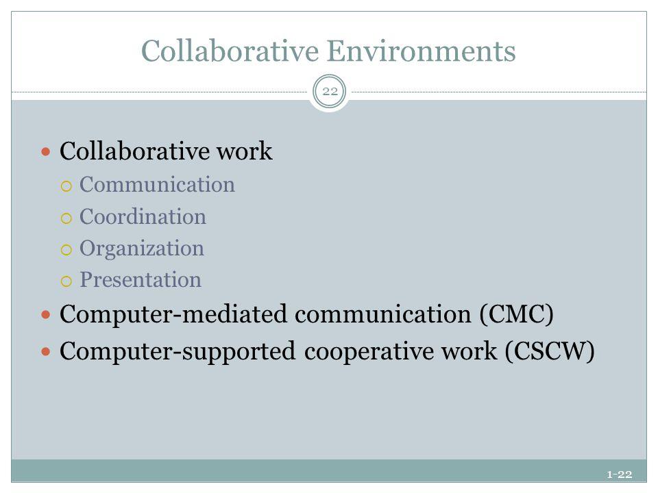 1-22 Collaborative Environments Collaborative work  Communication  Coordination  Organization  Presentation Computer-mediated communication (CMC)