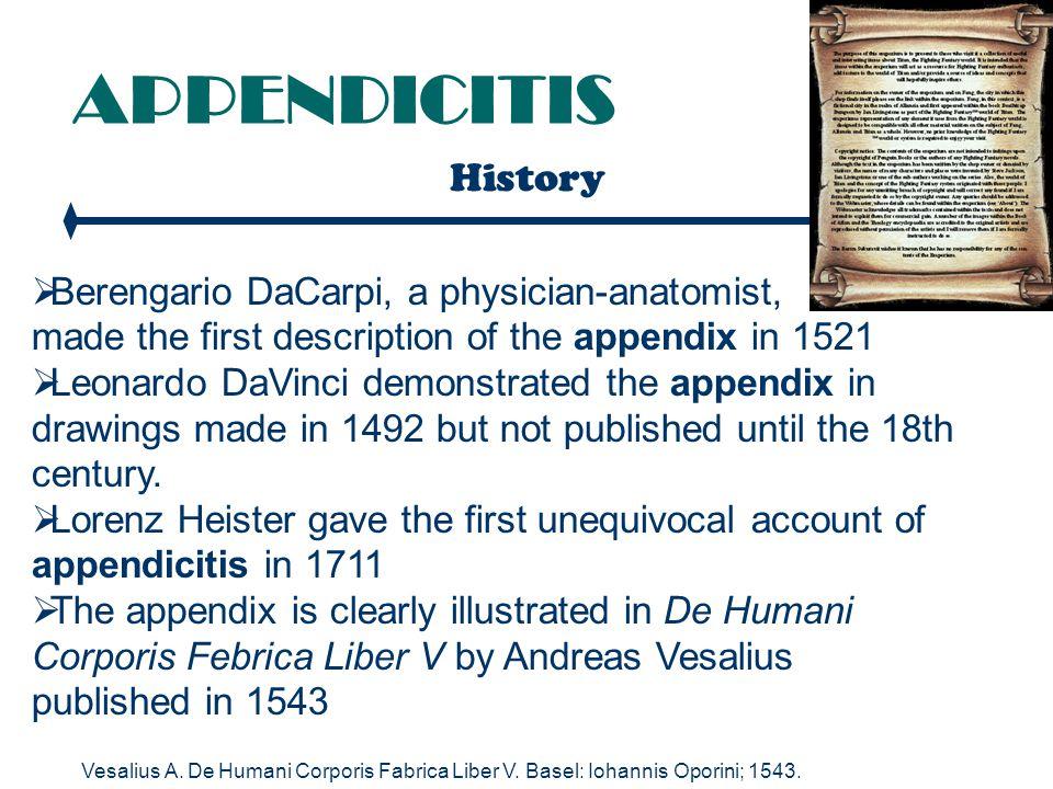 APPENDICITIS Clinical Features