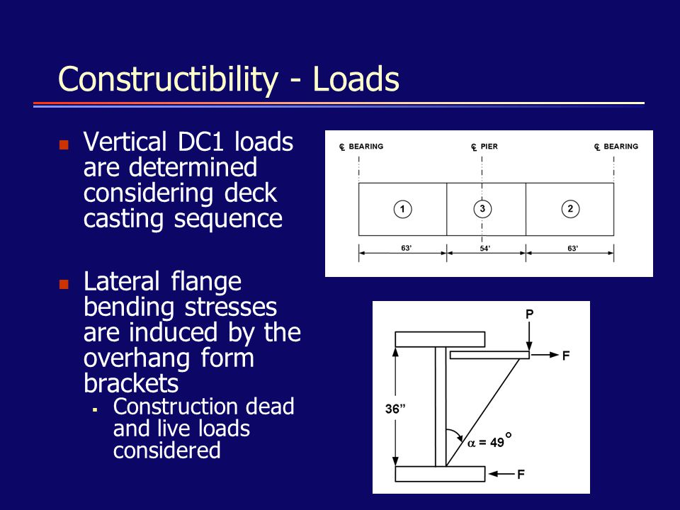 Constructibility - Loads Vertical DC1 loads are determined considering deck casting sequence Lateral flange bending stresses are induced by the overha