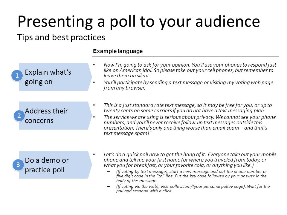 Presenting a poll to your audience Tips and best practices Now I'm going to ask for your opinion. You'll use your phones to respond just like on Ameri