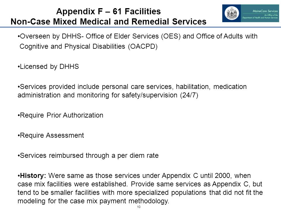10 Appendix F – 61 Facilities Non-Case Mixed Medical and Remedial Services Overseen by DHHS- Office of Elder Services (OES) and Office of Adults with