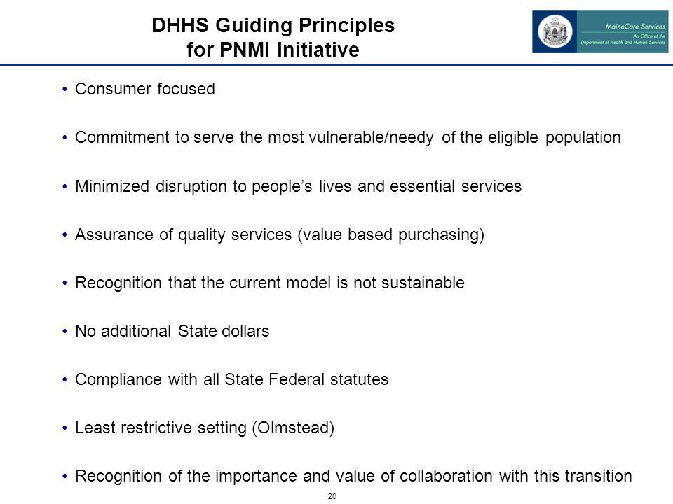 20 DHHS Guiding Principles for PNMI Initiative Consumer focused Commitment to serve the most vulnerable/needy of the eligible population Minimized disruption to people's lives and essential services Assurance of quality services (value based purchasing) Recognition that the current model is not sustainable No additional State dollars Compliance with all State Federal statutes Least restrictive setting (Olmstead) Recognition of the importance and value of collaboration with this transition