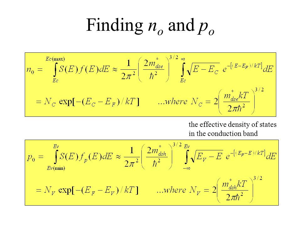 Finding n o and p o the effective density of states in the conduction band