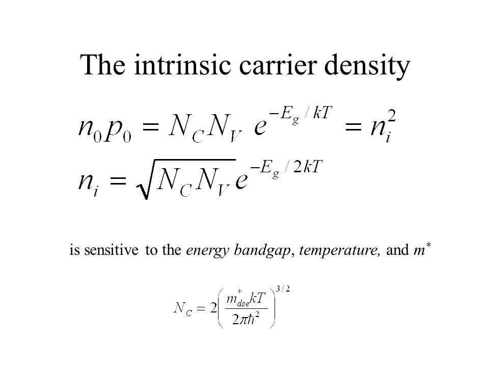 The intrinsic carrier density is sensitive to the energy bandgap, temperature, and m *