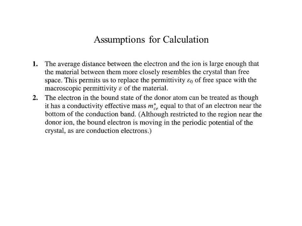 Assumptions for Calculation