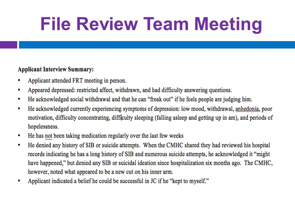 File Review Team Meeting