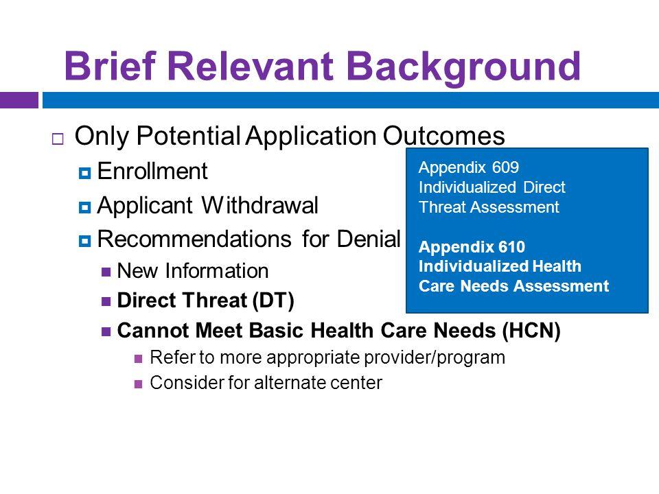 Health Care Needs Assessment Appendix 610