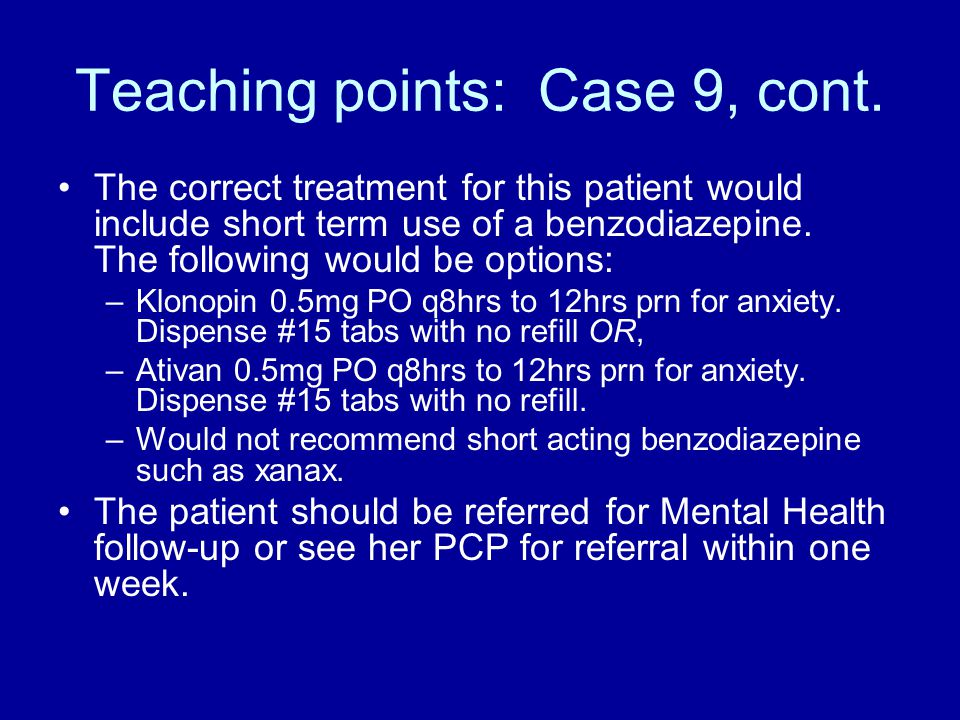 Teaching points: Case 9, cont.